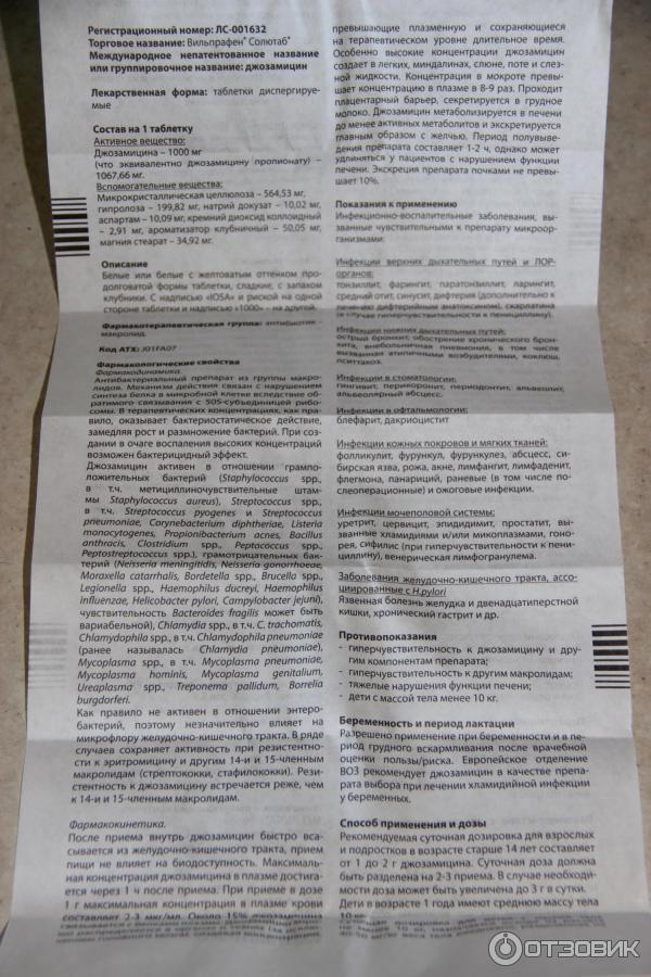 Вильпрафен солютаб 500 и 1000 мг: инструкция по применению детям, цена, аналоги