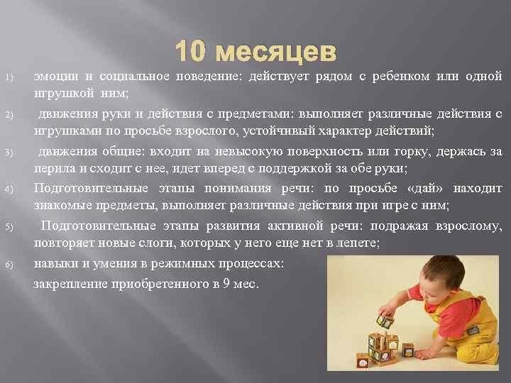 10 месяцев ребенку – развитие, питание, меню, режим. что умеет ребенок в 10 месяцев?