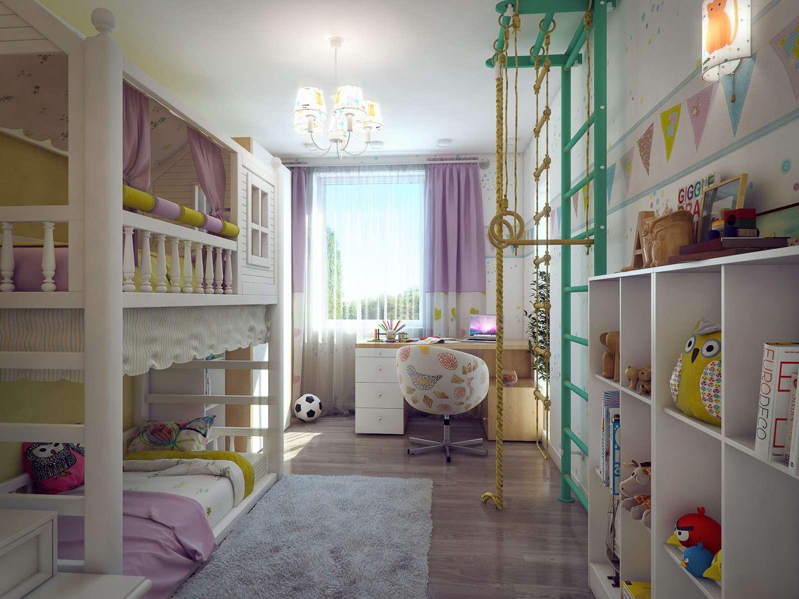 Комната для двух девочек разного возраста (фото)